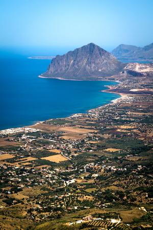 tyrrhenian: view of Cofano mount and the Tyrrhenian coastline from Erice, Sicily, Italy
