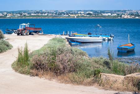 mozia harbor, in the salt marshes of marsala, Sicily, Italy photo