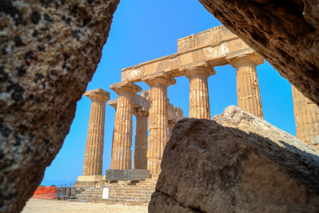 hellenic: The Hellenic Temple of Hera, also known as Temple E, at Selinunte in Sicily in Southern Italy.