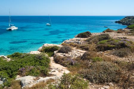 the wonderful beach in Favignana island.Sicily, Italy, Aegadian Archivio Fotografico