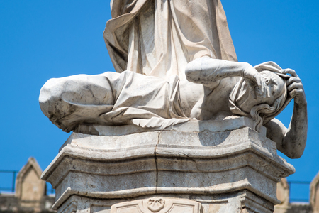 santa rosalia: Statue of Santa Rosalia next to the cathedral of Palermo. Detail of the female figure representing the plague Sicily, Italy