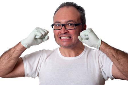 enrage: Brunet man in white gloves shirt eyeglasses looking at camera. isolated horizontal
