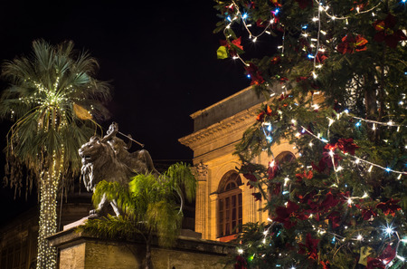 Christmas in Palermo. the famous theater Massimo decorated with lights and Christmas tree. Palermo, Sicily