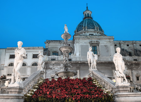 The famous fountain in Piazza Pretoria decorated for Christmas. Palermo, Sicily