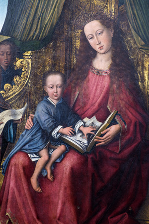 memling: POLIZZI GENEROSA, ITALY-DECEMBER 25, 2015: Detail of Flemish triptych in the main church in Polizzi Generosa.It is attributed to Rogier van der Weyden, master of Flemish painting in the 15th century Editorial