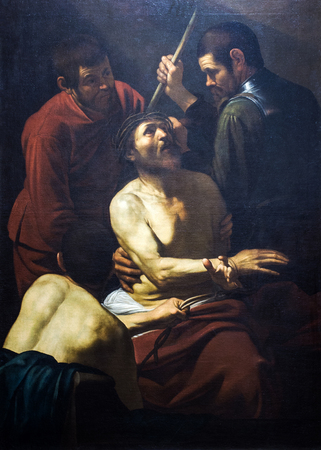 PALERMO, ITALY-JANUARY 02, 2016: The Crowning with Thorns is a painting by the Italian painter Michelangelo Merisi da Caravaggio exposed to the Mirto palace of Palermo. Banca Popolare di Vicenza collection
