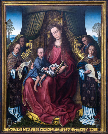 15th century: POLIZZI GENEROSA, ITALY-DECEMBER 25, 2015:central part of the flemish triptych in the main church in Polizzi Generosa.It is attributed to Rogier van der Weyden,Flemish painting in the 15th century
