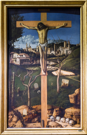 PALERMO, ITALY-JANUARY 02, 2016: Crucifixion with Jewish Cemetery by the Italian painter Giovanni Bellini exposed to the Mirto palace of Palermo. Banca Popolare di Vicenza collection