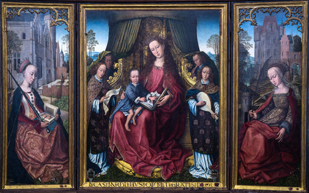memling: POLIZZI GENEROSA, ITALY-DECEMBER 25, 2015: Flemish triptych in the main church in Polizzi Generosa.It is attributed to Rogier van der Weyden, one of the masters of Flemish painting in the 15th century Editorial