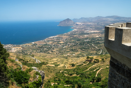erice: Beautiful panoramic view from Erice. Sicily, Italy Stock Photo