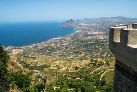 Beautiful panoramic view from Erice. Sicily, Italy Standard-Bild