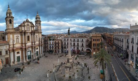 old church: San Domenico church and square in Palermo, Sicily, Italy