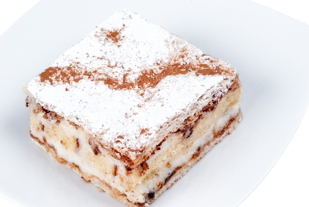 sugar veil: italian confectionery: traditional sicilian diplomatic with sponge cake, puff pastry and ricotta cream