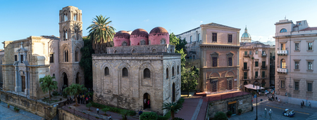 bulge: Panoramic view of  Palermo with San Cataldo church and its three characteristics red, bulge domes and Arab-style merlons, Sicily, Italy
