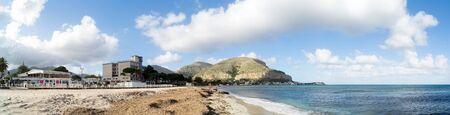 mondello: Panoramic view of Mondello beach in Palermo, Sicily, Italy Stock Photo