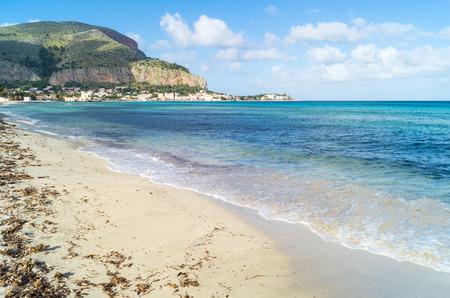 mondello: View of Mondello beach in Palermo, Sicily