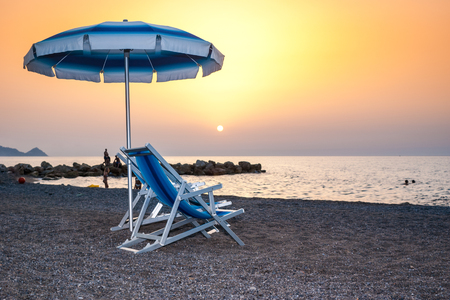 Brolo beach at sunset. Sicily, Italy