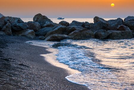 filicudi: Brolo beach at sunset. Sicily, Italy