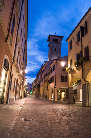 jewish houses: Street in the Jewish ghetto in Padova at night with view of the tower