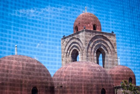 hermits: St. John of the Hermits domes, Palermo, Italy. View through the wire