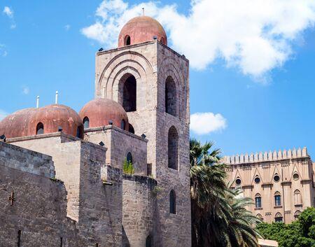 hermits: St. John of the Hermits domes, Palermo, Italy Stock Photo