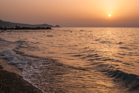 lipari: Brolo beach at sunset. Sicily, Italy