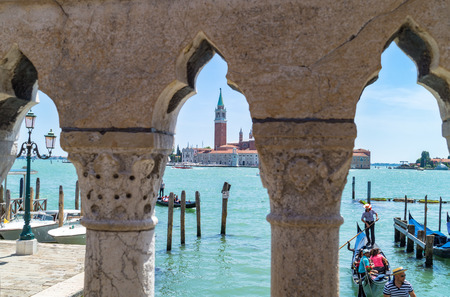 Beautiful view of traditional Gondolas moored on piazza San Marco, Venezia Editorial