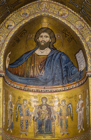 arcades: PALERMO - August 13: interior of Santa Maria Nuova cathedral in Monreale, Italy. The Cathedral of Monreale is one of the greatest examples of Norman architecture in the world.It is famous by mosaic of Christ Pantocrator:August 13,2016 in Palermo,Sicily, I