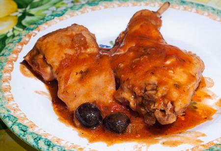 Coniglio alla cacciatora, Rabbit, Hunter-Style, Italian recipe. Standard-Bild