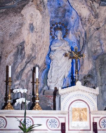 santa rosalia: statue of Saint rosalia inside the sanctuary of  Palermo, Sicily