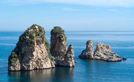 Faraglioni rocks at Scopello, Sicily, Italy Stock Photo