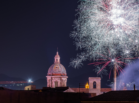 fireworks in the city of Palermo, Sicily