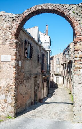 Houses in ancient sicilian village: San Mauro Castelverde, Sicily, Italy Stock Photo