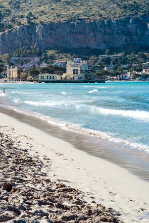 The famous beach of  Mondello in Palermo, Sicily, Italy