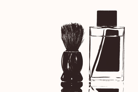Stylized shaving brush and aftershave perfume.isolated