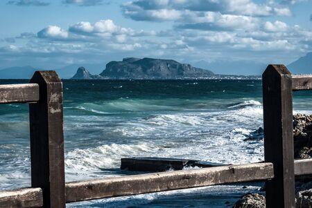 view of monte pellegrino from the nature reserve of capogallo, Palermo, Sicily, Italy Archivio Fotografico