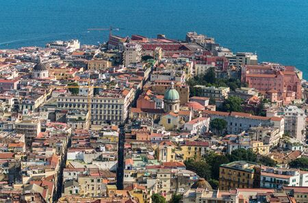 Beautiful view of Naples skyline from Castel Sant'Elmo, Italy