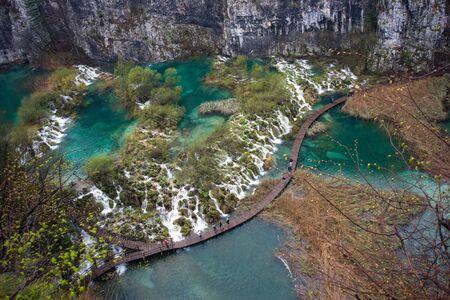 Scenic view of beautiful waterfalls in Plitvice Lakes National Park,waterfall in Plitvice national park .Croatia