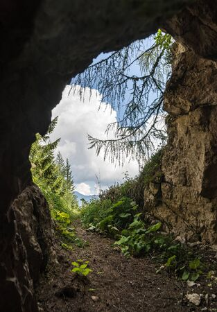 Cave in Auronzo mountain Dolomites in the north east of Italy