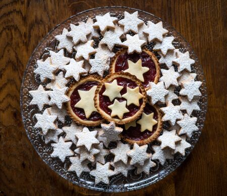stars biscuit and small tarts. top view
