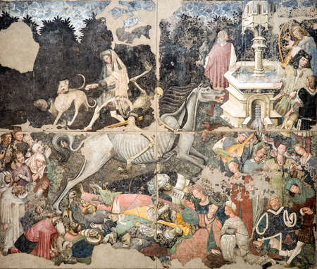 PALERMO - FEBRUARY 12:The Triumph of Death is a fresco preserved in the Regional Gallery of Palazzo Abatellis. January 12, 2016 in Palermo, Sicily, Italy Redakční