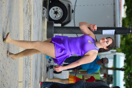 circus performers: Bloomington City, USA - August 27, 2016 - The circus performers at the Circus at Sweetcorn and Blues Festival - This photo was taken during Sweetcorn and Blues festival in Bloomington Normal, Illinois Editorial