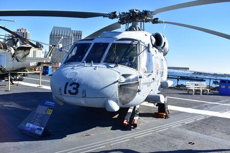 battleship: San Diego, California - USA - Dec 04,2016 - Navy Helicopter H-60 Seahawk Editorial