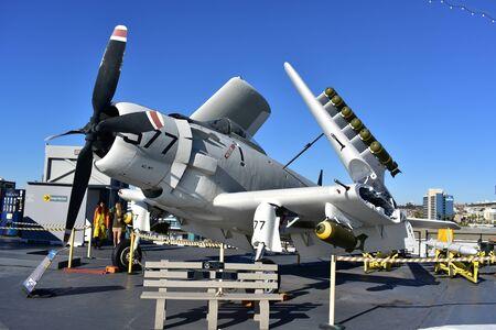 San Diego, California - USA - Dec 04,2016 - Sky Raider Attack USS Midway Museum Editorial
