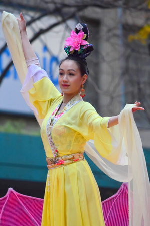 Chicago, Illinois - USA - November 24, 2016: Falun Dafa Chinese Community in Thanksgiving Parade Editorial