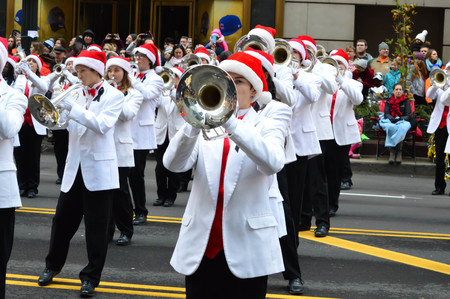 Chicago, Illinois - USA - November 24, 2016: Lowndes High School Marching Band in Thanksgiving Parade Editorial