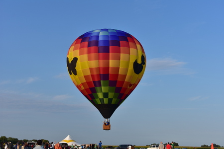 Lincoln, Illinois - USA - August 25, 2017: Butterfly Hot Air Balloon Festival Editorial