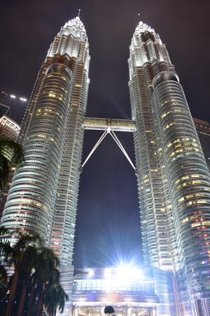 Kuala Lumpur, Malaysia - November 3, 2017: Malaysia Twin Towers Light Up at Night Editorial