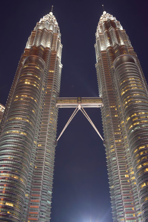 Kuala Lumpur, Malaysia - November 3, 2017:  Twin Towers Sky Bridge at Night Editorial