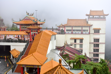 Genting Highlands, Malaysia - November 2, 2017: Mist at Chin swee caves temple